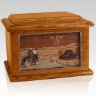 Motorcycle & Cross Mahogany Memory Chest Cremation Urn