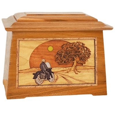 Motorcycle & Moon Mahogany Aristocrat Cremation Urn