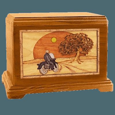 Motorcycle & Moon Mahogany Hampton Cremation Urn