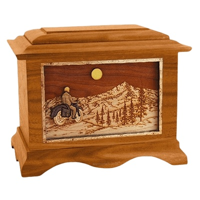 Motorcycle Mountains Mahogany Cremation Urn