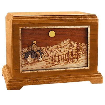 Motorcycle Mountains Mahogany Hampton Cremation Urn