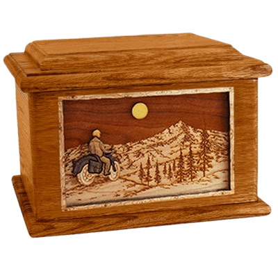 Motorcycle Mountains Mahogany Memory Chest Cremation Urn