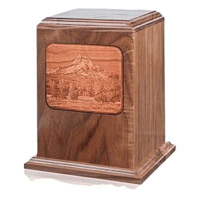 Mount Hood Walnut Wood Cremation Urn