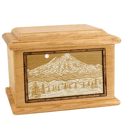 Mt Baker Oak Memory Chest Cremation Urn