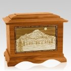 Mt Rainier Mahogany Cremation Urn