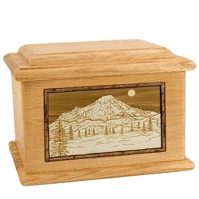 Mt Rainier Oak Memory Chest Cremation Urn
