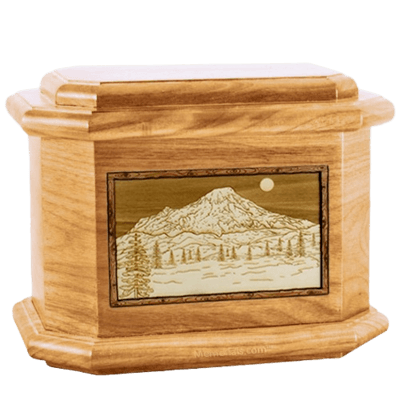 Mt Rainier Oak Octagon Cremation Urn