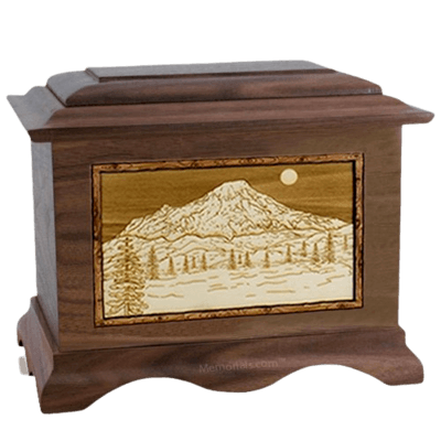 Mt Rainier Walnut Cremation Urn