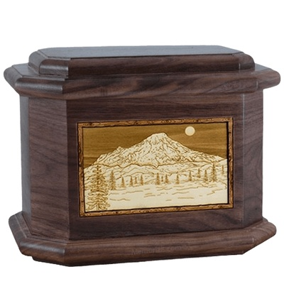 Mt Rainier Walnut Octagon Cremation Urn