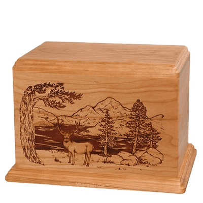 Mule Deer Companion Cherry Wood Urn