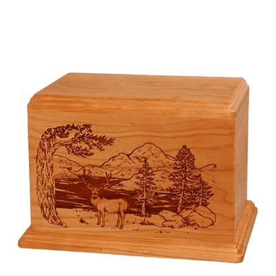 Mule Deer Individual Mahogany Wood Urn