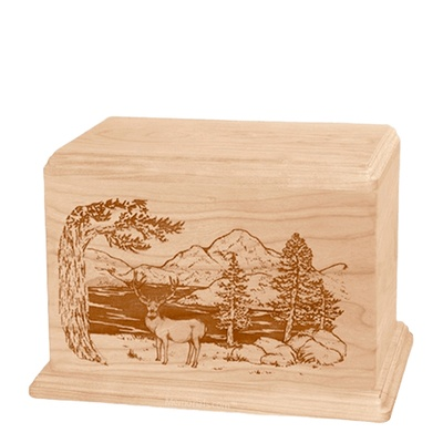 Mule Deer Individual Maple Wood Urn