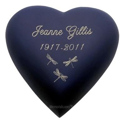 Navy Blue Heart Keepsake Cremation Urn