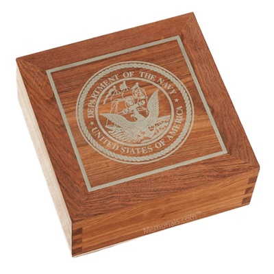 Navy Caribbean Square Cremation Urn