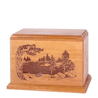 New Lake Individual Cherry Wood Urn