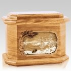 New Lake Oak Octagon Cremation Urn