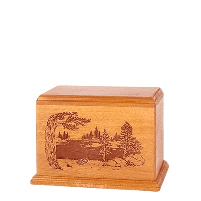 New Lake Small Mahogany Wood Urn