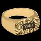 Oblong 14k Gold Print Cremation Ring