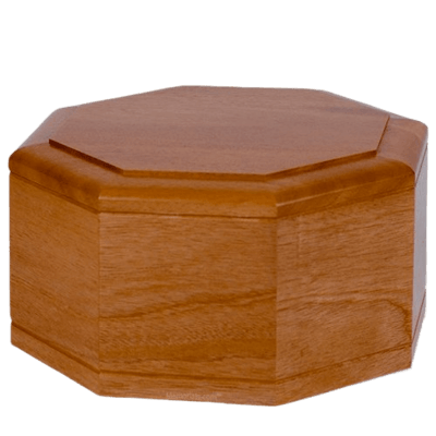 Octagon Mahogany Wood Cremation Urn