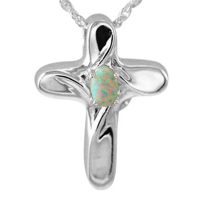 Opal Cross Cremation Jewelry III