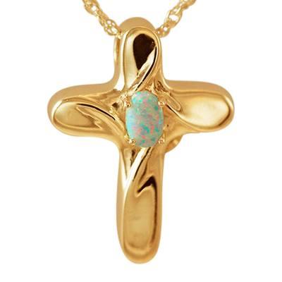 Opal Cross Cremation Jewelry II