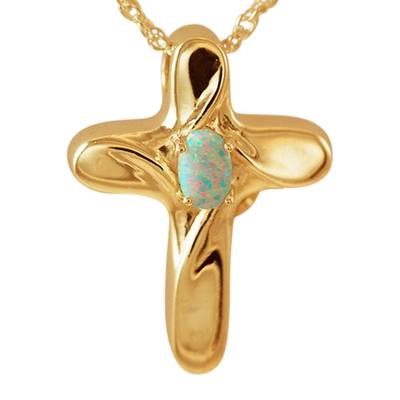 Opal Cross Cremation Jewelry IV