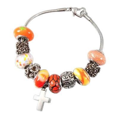 Orange Cross Cremation Bracelet