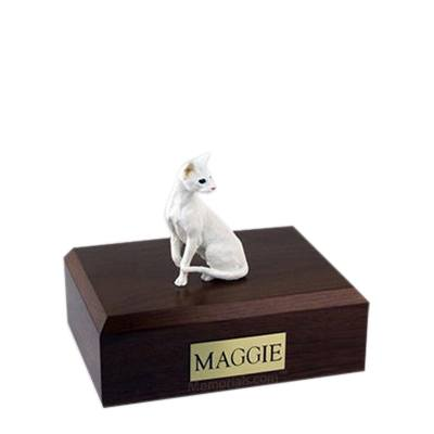 Oriental White Small Cat Cremation Urn