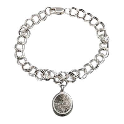 Ovalo 14k White Gold Cremation Print Bracelet