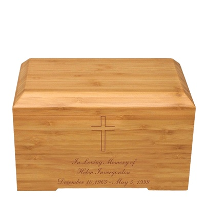 Cross Bamboo Essence Cremation Urn
