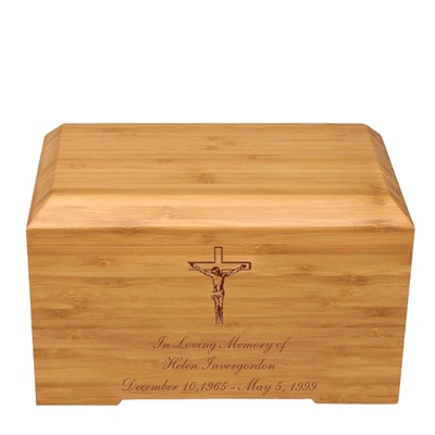 Crucifix Bamboo Essence Cremation Urn