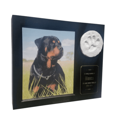 Paw Print Photo Medium Black Pet Urn