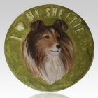 Sheltie Painted Cremation Memorial