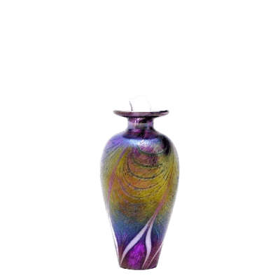 Peacock Glass Keepsake Cremation Urn