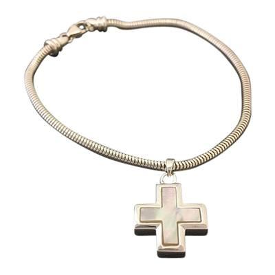 Pearl Cross Cremation Bracelet