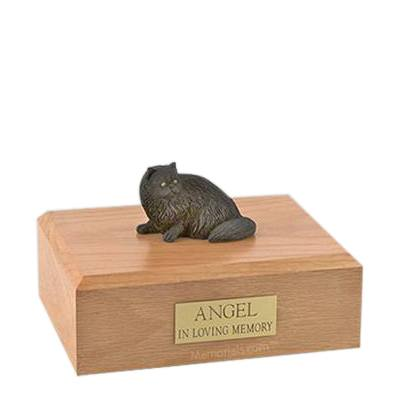 Persian Black Laying Small Cat Cremation Urn
