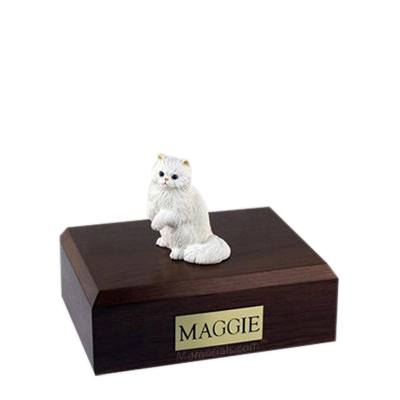 Persian White Paw Small Cat Cremation Urn