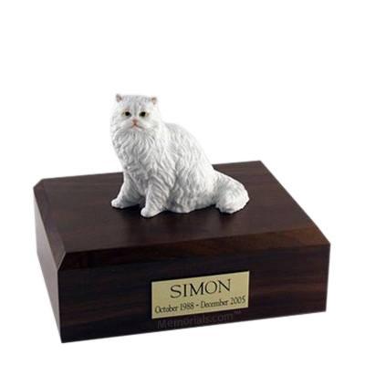 Persian White Sitting Large Cat Cremation Urn