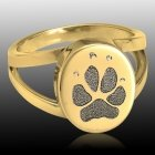Pet Paw 14K Gold Print Cremation Ring