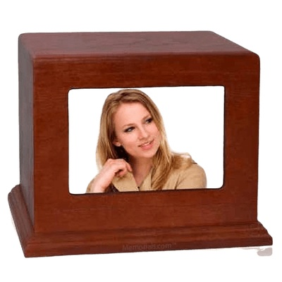 Photo Wood Cremation Urn