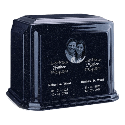 Picture Sapphire Blue Marble Urn For Two