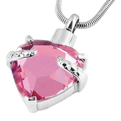 Pink Heart Necklace For Ashes