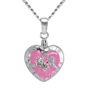 Pink Heart Keepsake Pendant