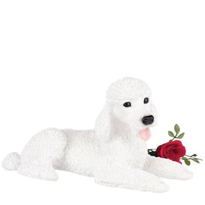 White Poodle Dog Urn