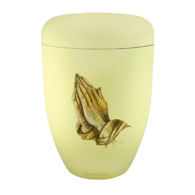 Praying Hands White Biodegradable Urn