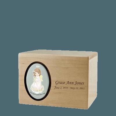 Precious Moments Brunette Girl Small Urn