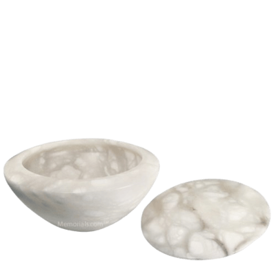 Pure White Stone Cremation Urn