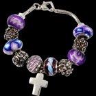 Purple Cross Cremation Bracelet