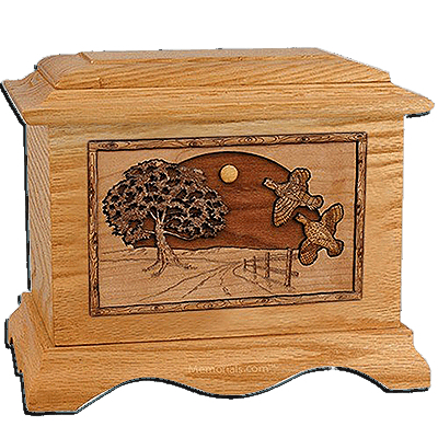 Quail Oak Cremation Urn for Two