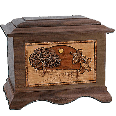 Quail Walnut Cremation Urn for Two